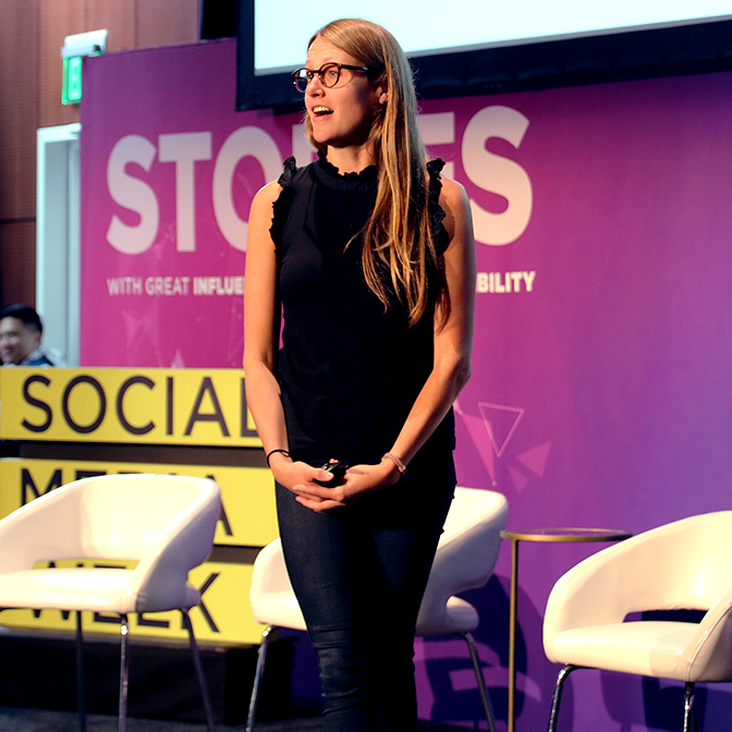 Karin Swanson speaking at Social Media Week LA
