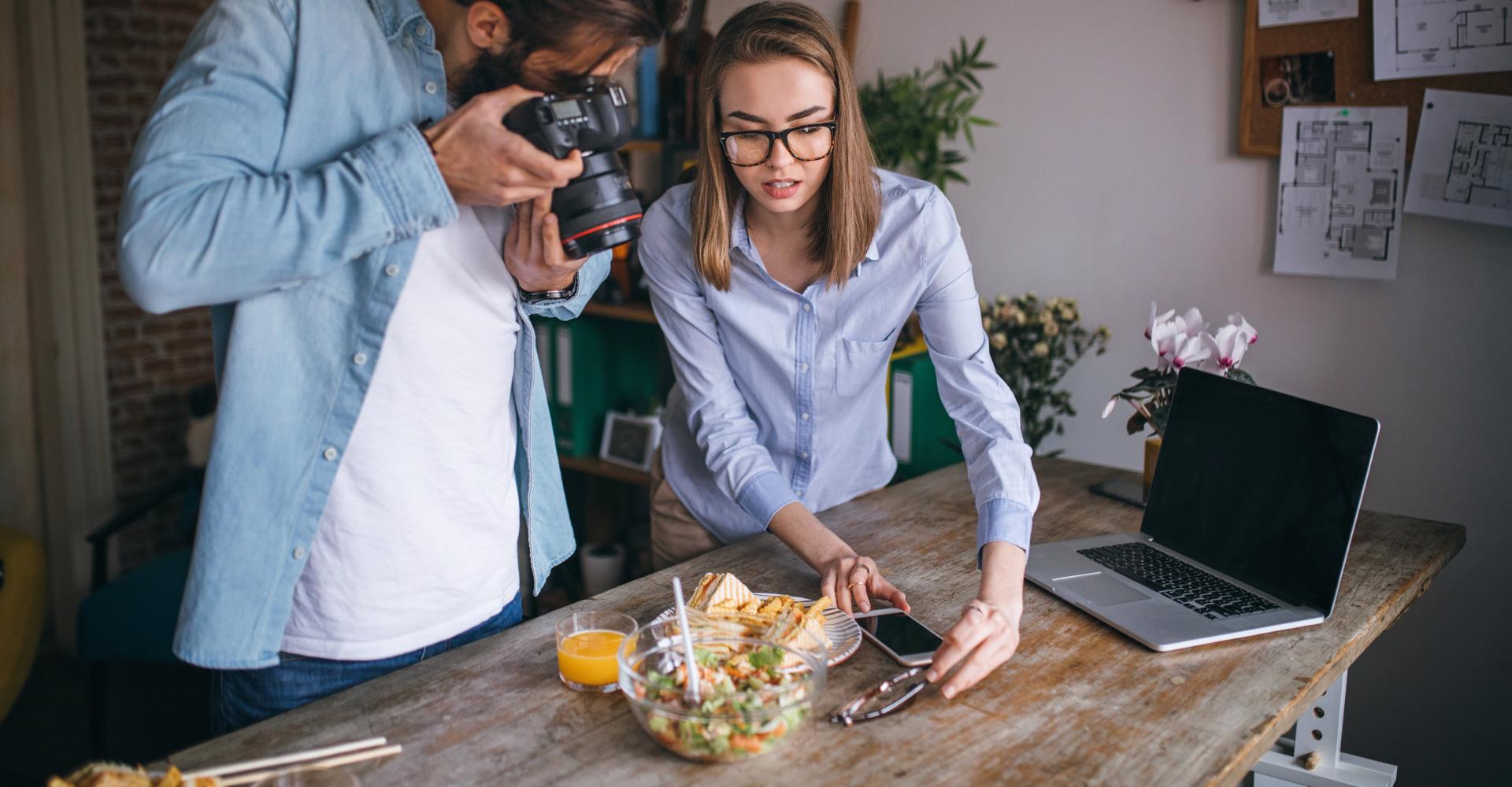 Food influencer camera shoot