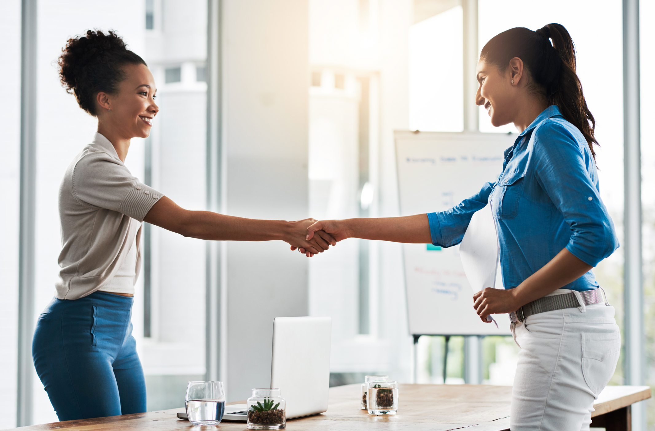 Two female business women shaking hands in office
